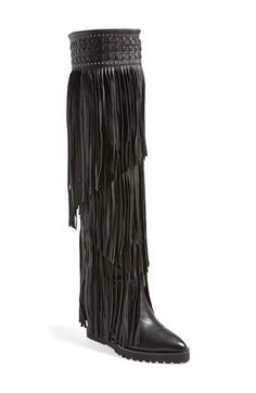 Free shipping and returns on Ivy Kirzhner 'Wild' Over the Knee Boot (Women) at Nordstrom.com. Long, layered fringe lends eye-catching movement to a stunning over-the-knee boot set on a sleek wedge heel and trimmed with goldtone studs at the cuff.