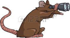 Cartoon rat regardant à travers des jumelles illustration vectorielle
