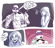 Full-sized For sweet Maggie for inspiring me to give the new TMNT a shot. And also I felt like trying to draw Donnie and I totally ship this mmhmm *shot* Teenage Mutant Ninja Turtles, Ninja Turtles 2014, Ninja Turtles Art, Tmnt Comics, Cartoon Shows, Cartoon Art, Tmnt Girls, Cartoon Crossovers, Tmnt 2012