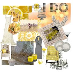 """""""glitzy whimsical yellow and grey wedding"""" by skybride on Polyvore"""