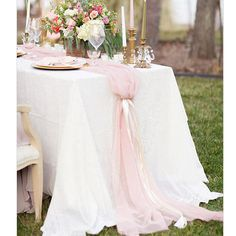 Romantic Chiffon Table Runner   Blush Pink Tablecloth   Black Twine #tablecloth #tablerunner #partygoods