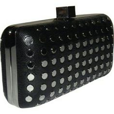 Host Pick Milly Studded evening clutch Black snake stamped leather styled with a tuck away chain strap and silvertone flat studs. Milly Bags