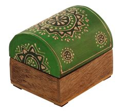 """Bulk Wholesale Handmade 3"""" Trunk-Shaped Mango-Wood Jewelry Box / Trinket Box in Green & Natural-Wood Color Decorated with Traditional-Look Motifs in Cone-Painting Art – Ethnic-Look Boxes from India"""