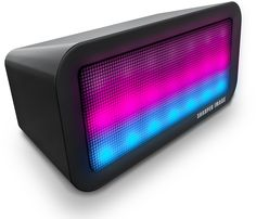 Sharper Image Sound-Responsive Wireless Bluetooth Speaker with Animated LED Light Show (Black). The LED Lights Speaker by Sharper Image is equipped with responsive and preprogrammed light modes sure to match any music and mood. Crank up the volume to watch the multicolored LEDs jump and bounce to the rhythm of the selected audio. Effortlessly connect Bluetooth enabled smartphones, MP3 players, and tablets to this speaker and control playback directly from your device-even from across the...