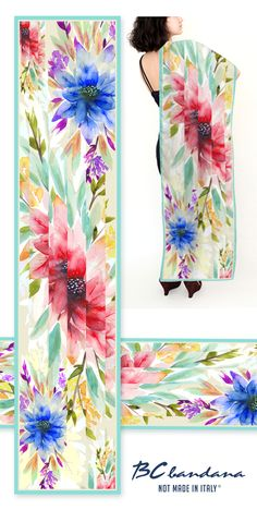 The Carved Floralscape  a silk scarf by BCbandana.