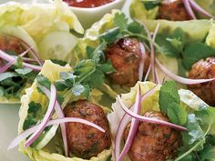 Joyce's Vietnamese Chicken Meatballs in Lettuce Wraps | Small Bites by Jennifer Joyce takes the popular restaurant trend of small plates and turns it into a fresh style of entertaining. Joyce's party recipe...
