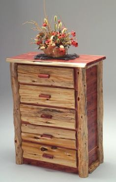 """Red Cedar Log Chest of Drawers - 5 Drawer - Item # COD05421 - 39""""W x 22""""D x 50""""H - 3 or 4 Drawer Available"""