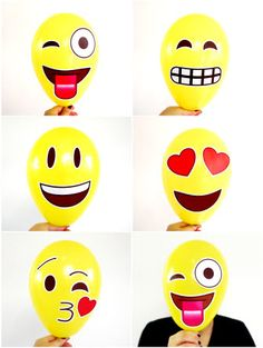 Emoji inspired party printables balloons or photo booth decorations from BirdsParty.com