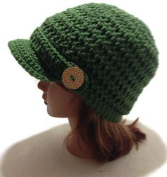 Crochet Olive Green Newsboy Beanie Hat with by AddSomeStitches #HEPteam