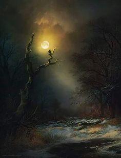 Fire & Sky — gypsymoonsister: Raven by Moonlight, Wim Lassche Fantasy Landscape, Landscape Art, Landscape Paintings, Fantasy Art, 3d Art, Moonlight Painting, Beautiful Moon, Nocturne, Moon Art