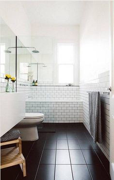 Black tile floor bathroom