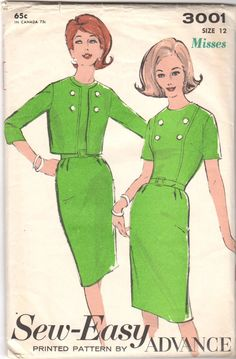 Vintage Original 1960s Advance Ladies Dress and Jacket Sewing pattern. Pattern by: Advance #3001 Pattern: Complete w/Instructions Date: 1960s Original Price: 65c Size: 12 Bust: 32 Waist: 25 Hip: 34 Th