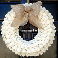Bubble burlap wreath ivory with burlap bow 19 by TheSeptemberTree, $45.00