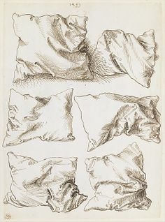 Self-portrait, Study of a Hand and a Pillow (recto); Six Studies of Pillows (verso), 1493  Albrecht Dürer     Pen and brown ink 10 15/16 x 7 15/16 in. (27.8 x 20.2 cm)