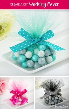 Create a simply sweet and sophisticated favor that matches the theme of your wedding! 1. Cut a circle on our Round Tulle Spool 2. Take a small portion of chocolate Sixlets (use color of your choice) and place in the middle of the tulle. 3. Close and create a bow using our polka dot ribbon.