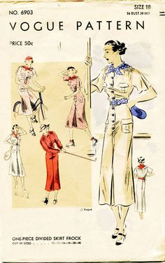 1930s Dress Pattern Vintage Vogue 6903 One by FloradoraPresents, $50.00