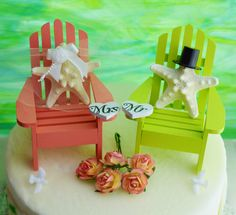 Wedding Cake Topper  Coral and Lime Green by BeachCottageBoutique, $45.00