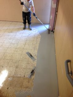 Northern Resin Flooring starting to lay the product.