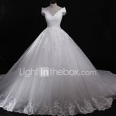 Ball Gown Wedding Dress Vintage Inspired Chapel Train Off-the-shoulder Tulle with Appliques Lace 2017 - $149.99