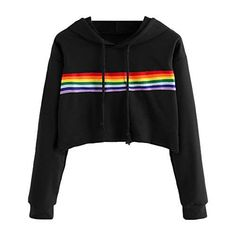 Rainbow Colour Hooded Sweatshirt Casual Long Sleeve Hooded Fleece Jacket Pullover Outwear Tops Sweatshirt Source by Teenager Outfits, Outfits For Teens, Cool Outfits, Casual Outfits, Stylish Hoodies, Cool Hoodies, Sweatshirt Outfit, Girls Fashion Clothes, Fashion Outfits