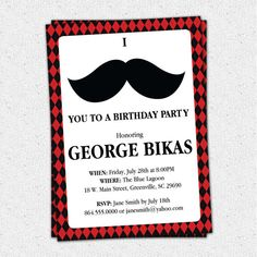 Printable Mustache Argyle Birthday Party Bash Invitation, Manly 30th 40th 50th 60th Man's Men's DIY Digital File