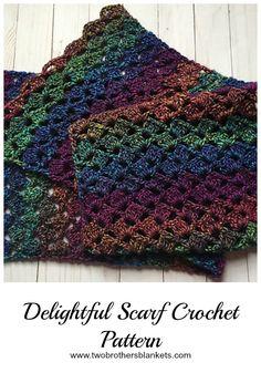Delightful Scarf Free Crochet Pattern by Two Brothers Blankets. Scarf Delightful Scarf- Free Crochet Pattern - Two Brothers Blankets Boho Crochet, Crochet Simple, Crochet Motifs, Crochet Scarves, Crochet Shawl, Crochet Crafts, Crochet Yarn, Crochet Clothes, Crochet Hooks