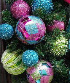 Preppy Christmas Wreath Bright Ornament Wreath by LuxeWreaths