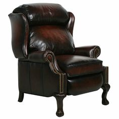 Danbury II Stetson Bordeaux Leather Recliner