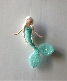 needle felted waldorf mermaid mobile hanging by lovebluecats Needle Felted Ornaments, Felt Ornaments, Yarn Dolls, Felt Dolls, Fuzzy Felt, Wool Felt, Wet Felting Projects, Felt Angel, Origami
