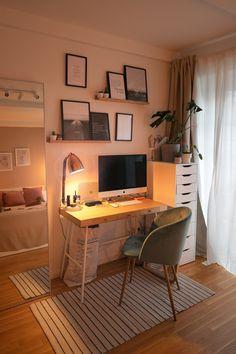 Room Design Bedroom, Small Room Bedroom, Room Ideas Bedroom, Home Room Design, Bedroom Inspo, Study Room Decor, Study Rooms, Study Desk, Minimalist Room