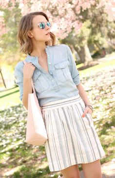 Softened Chambray + Linen Skirt