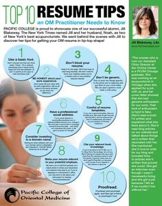 Top 10 Resume Tips an OM Practitioner Needs to Know, by: PCOM Alumna Jill Blakeway, LAc