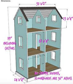 "DIY American Girl Dollhouse - adjusted measurements for a 3' wide by 24"" deep version (without centre dividers)"