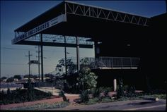 Architectural Teaching Slide Collection - Electronic Enclosures factory & showroom, El Segundo, Calif., 1966? - Exterior photograph of Electronic Enclosures factory and showroom (E.E.I., a division of Wyle Laboratories), 225 South Aviation Boulevard, El Segundo, California, 1966? Designed by Pierre Koenig.