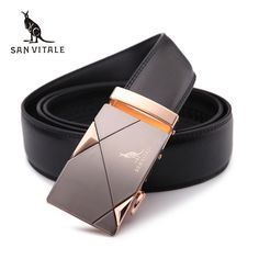 2016men's fashion100% Genuine Leather belts for men High quality metal automatic buckle Strap male Jeans cowboy free shipping
