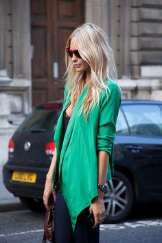 #fashion #blazer #street #style #color #green