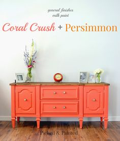 Picked & Painted: Coral Crush + Persimmon Buffet good milk paint info - Love this color! Coral Painted Furniture, Orange Furniture, Refurbished Furniture, Paint Furniture, Repurposed Furniture, Furniture Projects, Furniture Makeover, Furniture Design, Dresser Makeovers