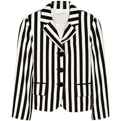 Marc Jacobs Striped twill blazer (680 AUD) ❤ liked on Polyvore featuring outerwear, jackets, blazers, tops, marc jacobs, black, blazer jacket, twill jacket, twill blazer and stripe blazer