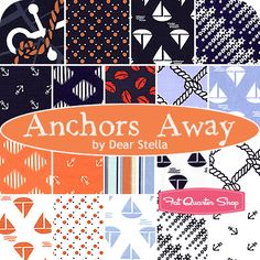 Anchors Away Fat Quarter Bundle Dear Stella Fabrics - Fat Quarter Shop...this will make a great quilt for my father's sailboat!