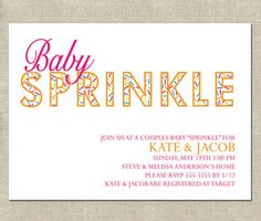 Minimalist Baby Sprinkle Invitation - PRINTABLE - Couples Sprinkle - Baby Boy - Brown with Turquoise OR Turquoise with Orange Sprinkle Shower, Sprinkle Party, Boy Sprinkle Invitations, Baby Girl Sprinkle, Minimalist Baby, Baby Crafts, Diy Party, Party Ideas, Printable Cards