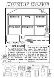 English worksheet: Moving House - rooms and furniture + prep.