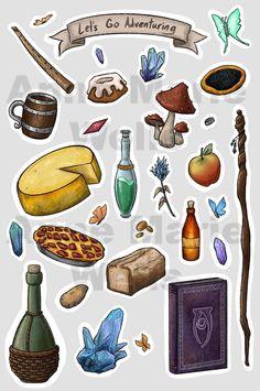 Let's Go Adventuring - Fantasy Adventure & Skyrim Inspired Sticker Sheet The Elder Scrolls, Elder Scrolls Skyrim, Skyrim Drawing, Skyrim Tattoo, Fantasy Adventurer, Skyrim Funny, Prop Design, Dungeons And Dragons, Geek Stuff