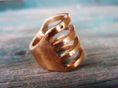 handmade bronze cage ring. by gather.