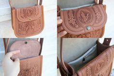 Funda cuero marrón luz bolso bolso bandolera bolso por petitJuJu
