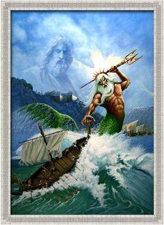 Poseidon o Neptuno. Dios del mar, las tormentas y terremotos. Hermano de Hades y Zeus