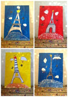 les tours Eiffel des enfants - famous buildings Fun Crafts For Kids, Art For Kids, France For Kids, France Craft, Arte Elemental, France Eiffel Tower, Drawing Activities, Art Curriculum, Art Lessons Elementary