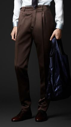Burberry Prorsum Slim Fit Bonded Satin Trousers