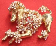 Vintage Marvella Dog Pin Decorated with White Enamel Flowers Poodle
