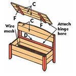 Diagram for assembling storage bench.