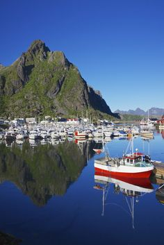 Picturesque Svolvaer Harbor in Norway